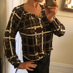 Michael Kors brown gold chains blouse S